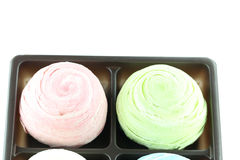 Thailand of Colorful Mochi Sweets in black box of isolated. Stock Image