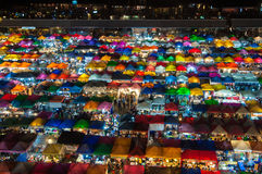 Thailand colorful night market. Thailand night market with crowded behind Esplanade shopping center, Rachdapisek road Royalty Free Stock Photos