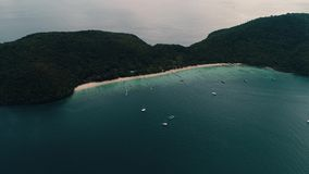 Thailand coral island drone shot view of the island from a height of 500 meters above sea level. shooting with. The flight and shooting of the beautiful island stock video footage