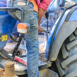 Thailand Country welder repairing the tractor detail Stock Photography