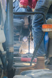 Thailand Country welder repairing the tractor detail Stock Photo