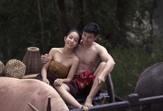 Thailand The couple ancient in countryside of Thai. They the joy Royalty Free Stock Photography