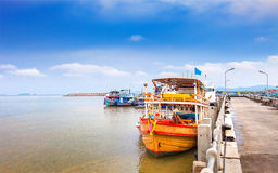 Thailand cruiser boat at pier in the sunset Royalty Free Stock Images