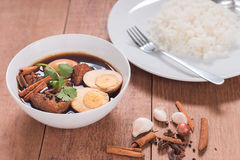 Thailand cuisine called, Thai food. Thailand cuisine called `Pa-lo` , hard-boiled egg and pork stew with seasonings blend, sweet taste Royalty Free Stock Image