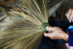Thailand cultural,handmake broom making Royalty Free Stock Photo