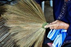 Thailand cultural,handmake broom making Stock Photos