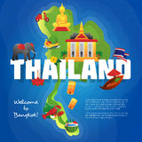 Thailand Cultural Symbols Flat Map Poster Royalty Free Stock Photos