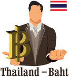 Thailand currency symbol baht representing money and Flag. Royalty Free Stock Photography