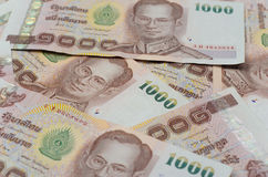 Thailand currency, thai baht background. Royalty Free Stock Photos