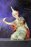Thailand Dancing art called. NAN, THAILAND - FEBRUARY 19: An unidentified actor performs Thailand Dancing art called Khon, an high-class of historic dance, on royalty free stock images