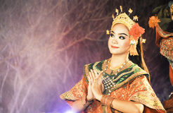 Thailand Dancing art called Khon, an high-class. NAN, THAILAND - FEBRUARY 19: An unidentified actor performs Thailand Dancing art called Khon, an high-class of royalty free stock photography