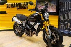 Thailand - Dec , 2018 : close up body of Scrambler Ducati motorbike presented in motor expo Nonthaburi Thailand stock photo