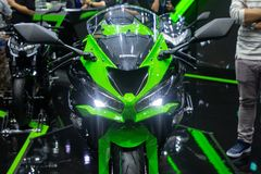 Thailand - Dec , 2018 : close up front view of Kawasaki Ninja green and black color motorbike presented in motor expo Nonthaburi stock photography