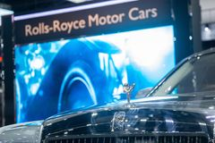 Thailand - Dec , 2018 : close up Rolls Royce Cullinan brand logo in Rolls Royce motor car booth at Nonthaburi Thailand. Close up Rolls Royce Cullinan brand logo royalty free stock photography