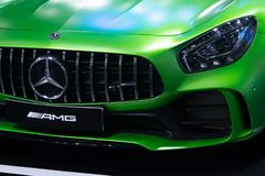 Thailand - Dec , 2018: Mercedes benz AMG GTR series green color luxury sport car high performance in motor show . close up royalty free stock photography