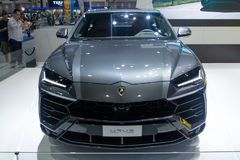 Thailand - Dec, 2018: vooraanzicht van Lamborghini Urus-luxeauto in motor Expo Nonthaburi Thailand wordt voorgesteld dat stock fotografie