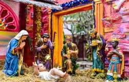 Thailand - DECEMBER 3, Maria Utomhus- julkrubba av liv-siz royaltyfria foton