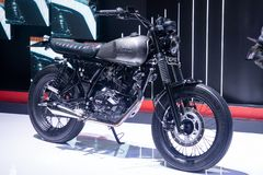 Thailand - December, 2018: slut upp mopeden för stil för GPX-legendkafé som framläggas i motorexpon Nonthaburi Thailand arkivfoto