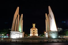 Thailand Democracy monument in the night with movement car light. On street Stock Image