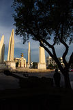 Thailand Democracy Monument with soldier silhouette Stock Photo