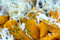 Thailand dessert - boiled pumpkins put coconut Royalty Free Stock Photography