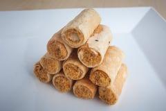 Thailand dessert crispy roll coconut flavor Stock Photo