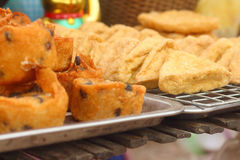 Thailand dessert, Mix flour, coconut and then fried. Royalty Free Stock Photos