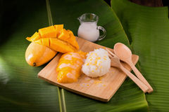 thailand dessert by sweet mango and sticky rice on banana leaf. Royalty Free Stock Photos