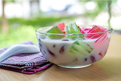 Thailand dessert Thai Foods mixed , coconut milk and jelly Stock Photo