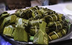 Thailand dessert. Wrapped in banana leaf in restaurant Stock Photography