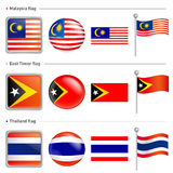 Thailand and East Timor, Malaysia Flag Icon Stock Photo