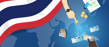 Thailand economy fiscal money trade concept illustration of financial banking budget with flag map and currency Royalty Free Stock Photos