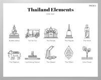 Thailand-Elemente zeichnen Satz stock abbildung