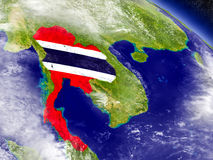 Thailand with embedded flag on Earth Royalty Free Stock Photos