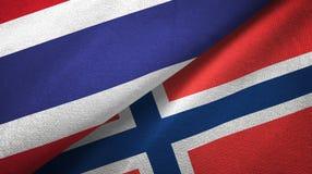 Thailand en Noorwegen twee vlaggen textieldoek, stoffentextuur royalty-vrije illustratie