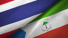 Thailand and Equatorial Guinea two flags textile cloth, fabric texture. Thailand and Equatorial Guinea two folded flags together royalty free illustration