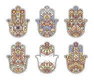 Thailand ethnic hand drawn hamsa hands. Vector ornaments royalty free illustration