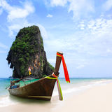 Thailand exotic sand beach and boats in asian tropical island Royalty Free Stock Photos