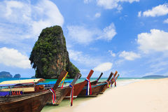 Thailand exotic sand beach and boats in asian tropical island Royalty Free Stock Images