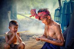 Thailand Father and son are working hand made Basket bamboo or f royalty free stock photo