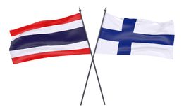 Two crossed flags. Thailand and Finland, two crossed flags isolated on white background. 3d image Royalty Free Stock Photos