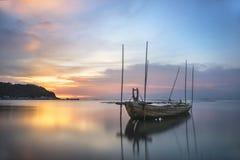 Thailand fisherman's boat. Old Fisherman boat at sunset royalty free stock image