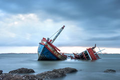 Thailand fisherman's life. Fisherman boat under the storm stock image