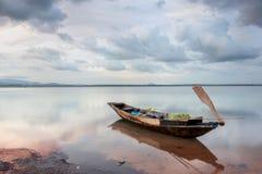 Thailand fisherman's life. Old fisherman boat at sunrise stock images