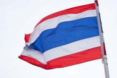 Thailand flag. The thailand flag on the isolated sky background Stock Images