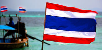 Thailand flag. Flag of Thailand by the ocean on a boat Royalty Free Stock Photo