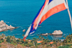 Thailand flag and a beautiful Bay Royalty Free Stock Photos