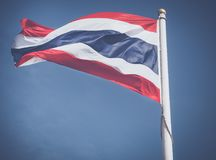 Thailand flag blows in the wind. Against a blue sky backgroundn Royalty Free Stock Photos