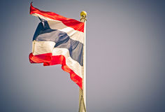 Thailand flag blows in the wind, Vintage color Royalty Free Stock Photo