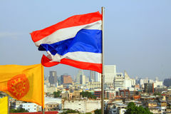 Thailand Flag and Buddhist Flag Stock Image